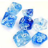 Blue & White Nebula Polyhedral 7 Dice Set